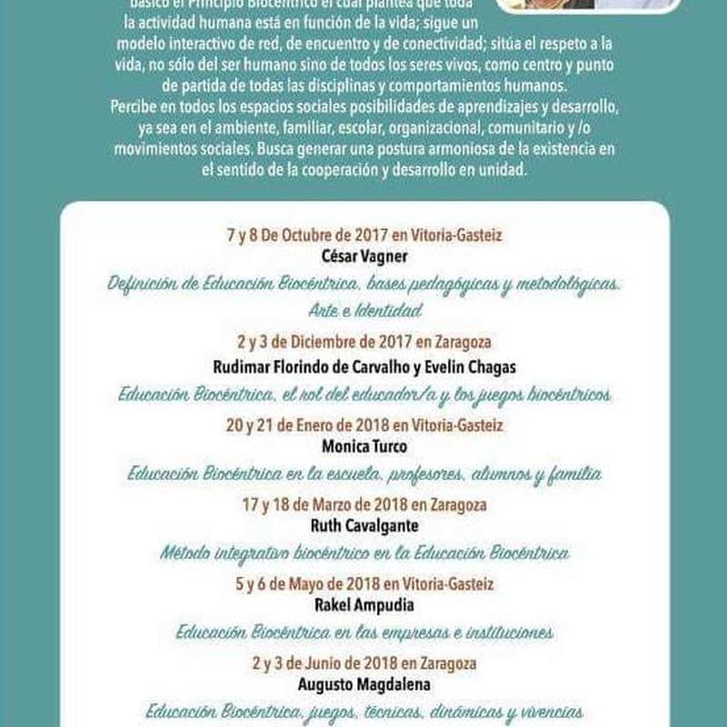 Formación en Educación Biocéntrica 2017-2018. Escuelas de Biodanza SRT de Zaragoza y Vitoria