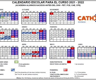 CALENDARIO CURSO ESCOLAR 2021-2022