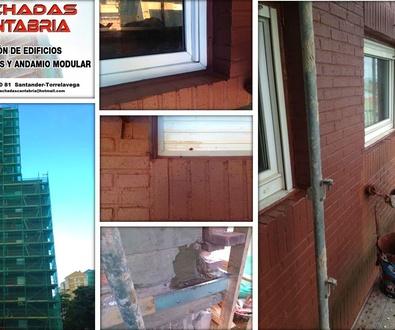 Rehabilitación de fachadas en Santander-andamio modular.