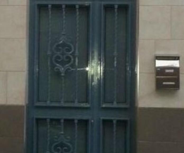 Puerta de hierro de 1 hoja abatible con paño fijo lateral y superior curvo