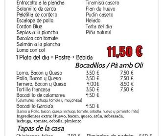 Bocadillos: Nuestra carta de Restaurante Casa García's