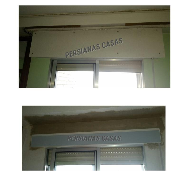 Antes y después de reducción de cajón de persiana
