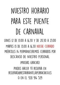 HORARIO DE ESTE PUENTE DE CARNAVAL