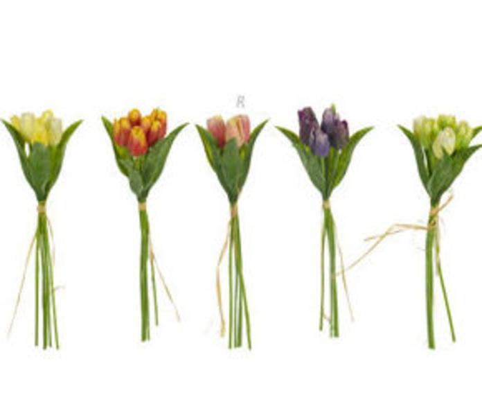 5 Tulipanes con Raffia Plast.