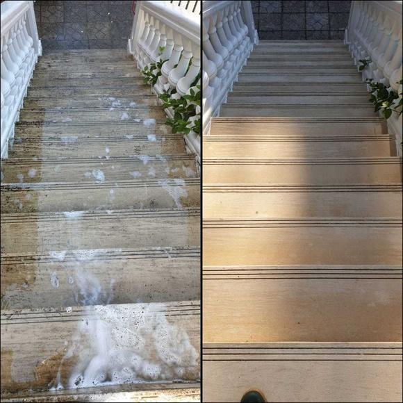 Limpieza escalera exterior mármol antes y después