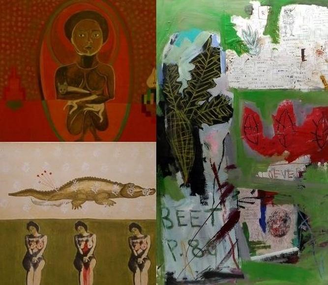 Obras de los tres artistas