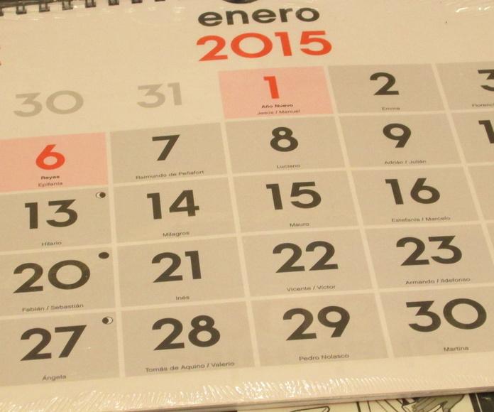 Calendario de pared 21 x 30 cms.
