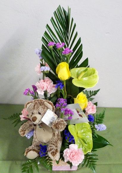 Centro de regalo, con oso floro
