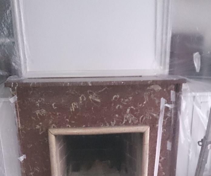 hogares de chimeneas destrozadas