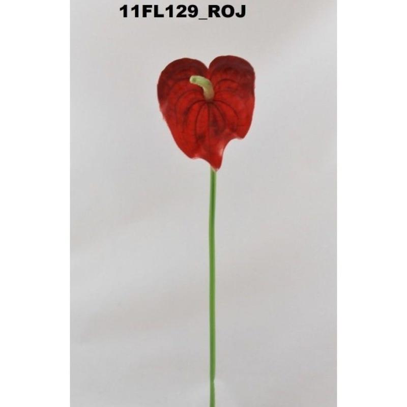 PQTE. 12 UNID.VARA ANTHURIUM MINI. COLOR: ROJO REF.: 11FL129 ROJ PRECIO:0,95 € C/U