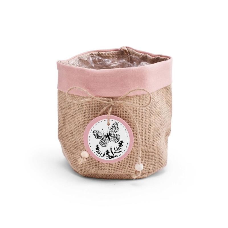 """CUBREMACETAS DE YUTE MODELO """"Butterfly"""" (Ø16x16cm) rosa REF: M40267 PRECIO: 1,50€/UD (SE VENDEN EN PQTES DE 10 UNIDADES)"""