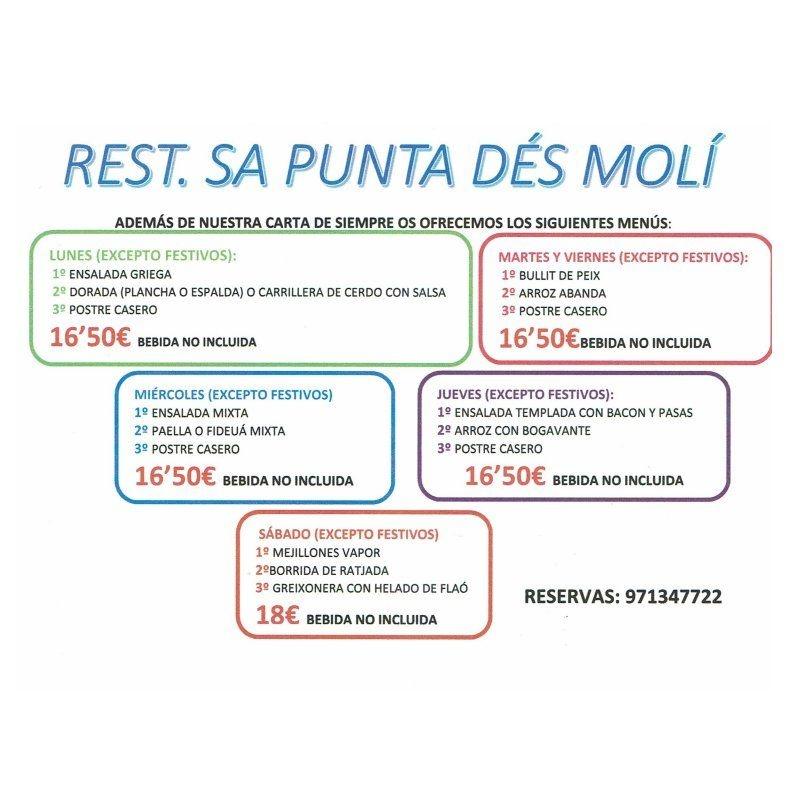 Además de nuestra carta de siempre les ofrecemos los siguientes menús: Carta y menús de Restaurante Sa Punta D'es Moli
