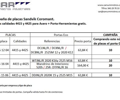 Campaña Placas Sandvic Coromant + Porta GRATIS