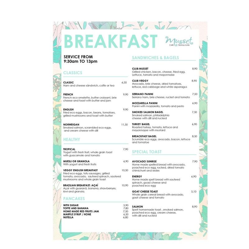 Breakfast menu: Carta de Musset Café