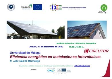 """Conferencia Online: """"Eficiencia Energética en Instalaciones Fotovoltaicas"""" , impartida  por  D, Juan Gámez de Circutor"""