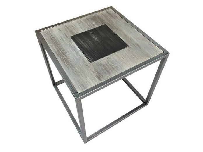 Mesa auxiliar hierro y madera a medida