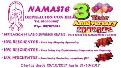 Ofertas por el 3er aniversario de nuestro centro NAMASTE DEPILACION CON HILO