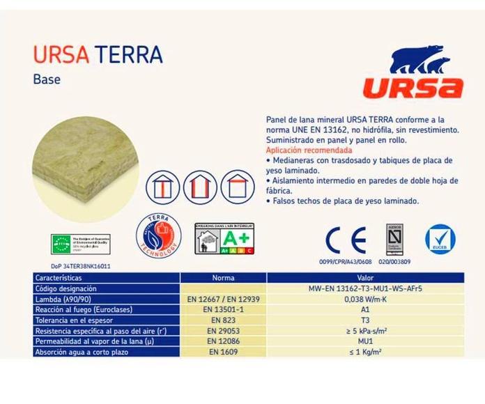Ursa TERRA Base: Materiales - Distribuciones de AISLAMIENTOS LORSAN