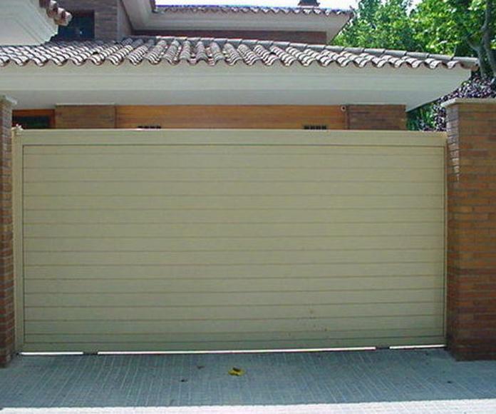 A97 Puerta corredera de aluminio lama lisa doble horizontal