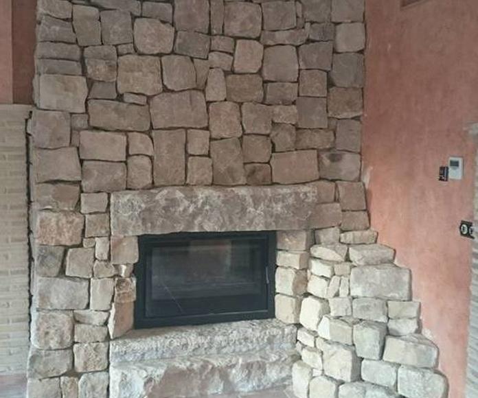Chimenea rustica en piedra viña