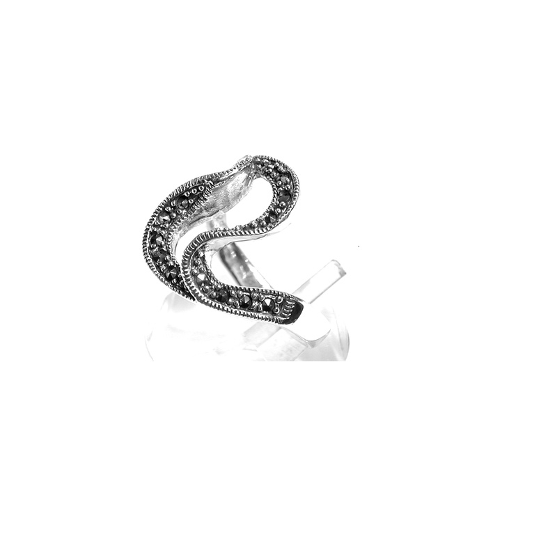 Sortija Ondulada de Plata de 1º Ley y Marcasitas. Ref.: MS-8841/00: Catálogo de Antigua Joyeros