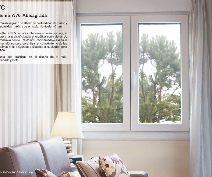 A 70  Abisagrada - PVC: Catálogo de Jgmaluminio