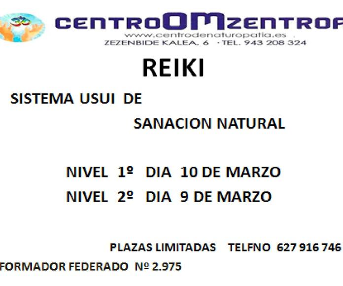 1º nivel de Reiki,  en Eibar,     MARZO