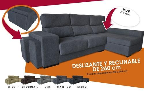 Oferta Chaise Longue!! con asientos deslizantes y respaldos reclinables de 260 cms., con 2 poufs en un brazo  por 615 € (disponible en 290 cms., 650€)