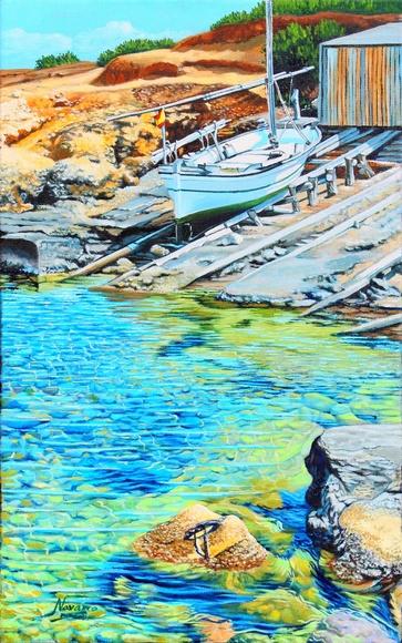 Pou d´es Lleó, Ibiza. oleo/tela. 55x33cm..VENDIDO