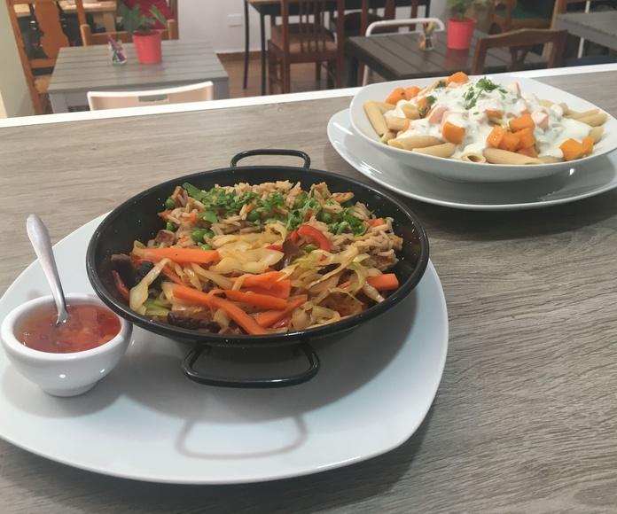 Arroz Tres Delicias al Estilo Wok & Pasta C/Calabaza y Puerros C/ Salsa Gorgonzola