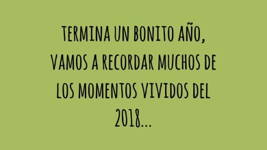 TERMINA UN BONITO AÑO, VAMOS A RECORDAR MUCHOS DE LOS MOMENTOS VIVIDOS DEL 2018...