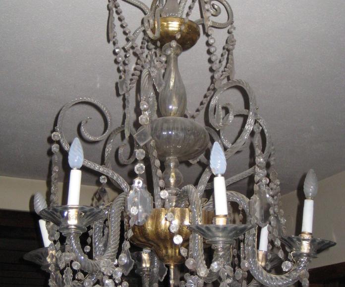 Lámpara antigua de cristal de La Granja (ANTES)