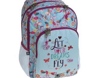 Mochila Busquets escolar doble LET YOUR DREAMS FLY. 30,0 x 45,0 x 15,0 cm.