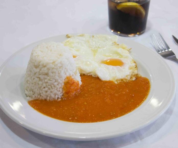 Arroz a la cubana, Madrid, las tablas, menú del día, menú barato, económico, Telecinco, comida casera