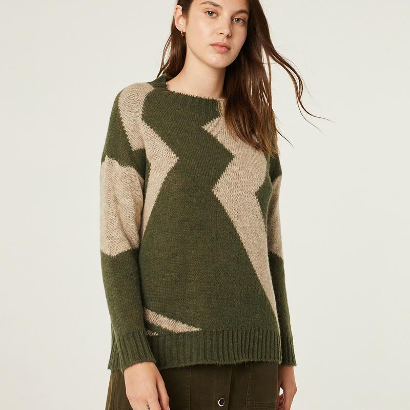 Jersey de lana en color verde y beige: Catálogo de Manuela Lencería