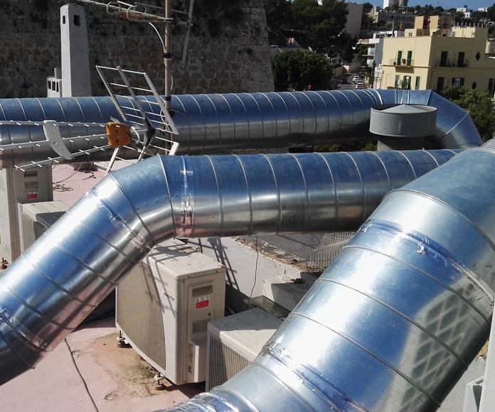 Instalación de aztote y conexión con maquinas con tubo helicoidal. Diametros 550mm ,350mm