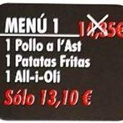 Oferta menú 1 Viernes y Sábados no festivos
