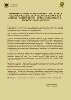 INFORMACIÓN SOBRE IMPARTICIÓN DE CLASES PARA LA VIII EDICIÓN DEL MÁSTER EN DOMÓTICA