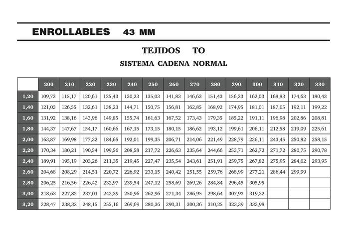 TEJIDOS TO 43MM
