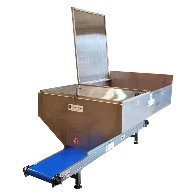 Cinta Transportadora Inox  PVC  Blue alimentario con Tolva Contenedor