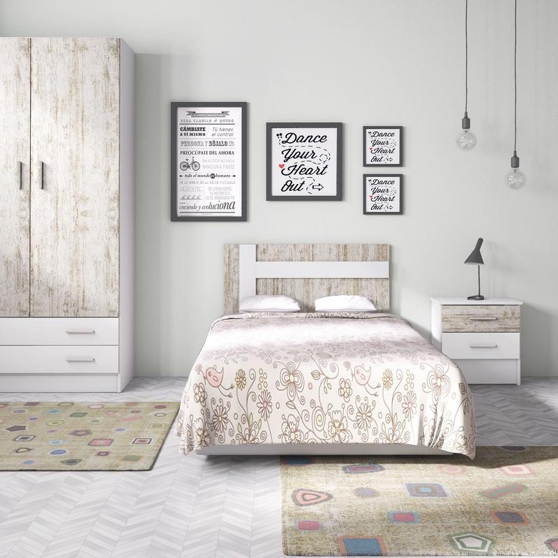 Dormitorio Juvenil Blanco-Vintage ---231€: Productos y Ofertas de Don Electrodomésticos Tienda online