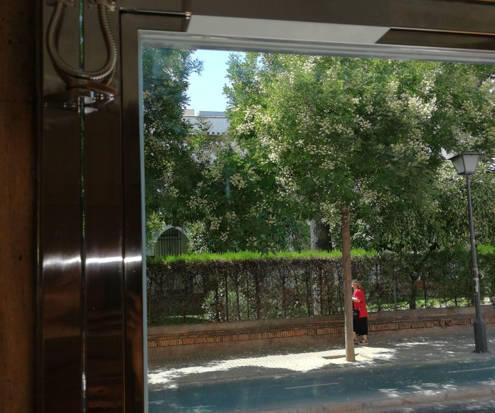 Cerradura eléctrica y freno aéreo para puerta de seguridad de acero inoxidable.