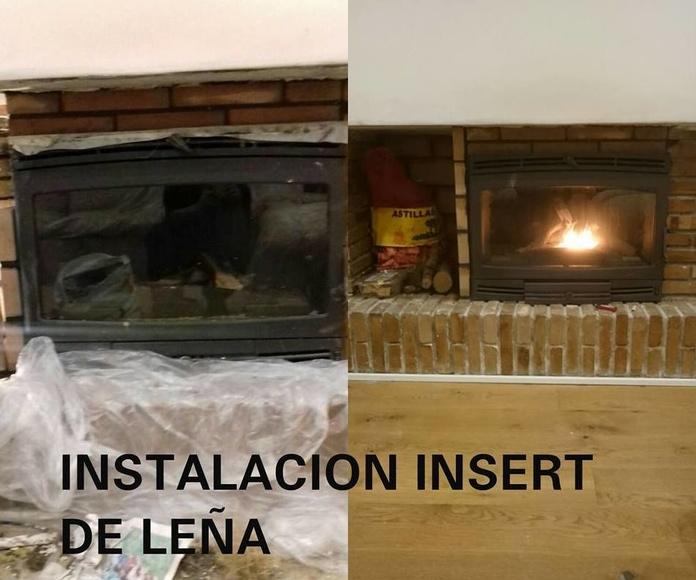 Instalación insert de leña.