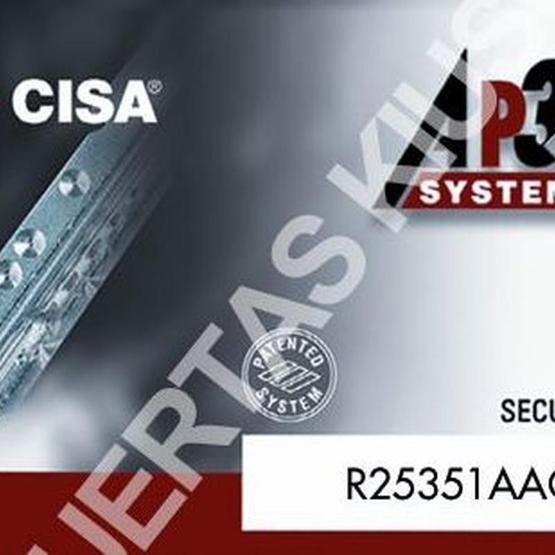 Tarjeta del cilindro de seguridad CISA AP3S.