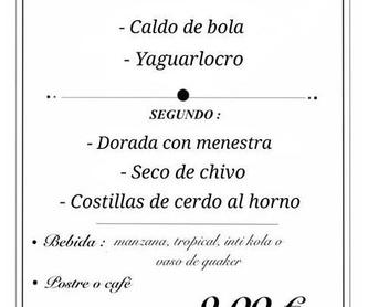 Bebidas: Carta de Restaurante Ecuatoriano Los Mesegares