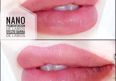 Nano pigmentación de labios efecto barra de labios
