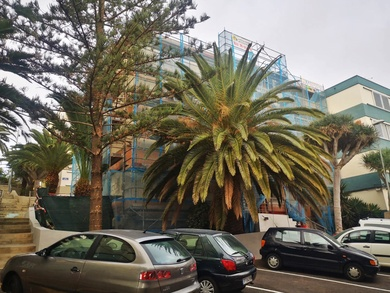 Andamio tubular RUX variant en edificio Los Alisios. Santa Cruz de Tenerife.