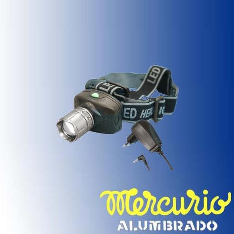 Linterna LED 3W frontal recargable, : Productos de Mercurio Alumbrado