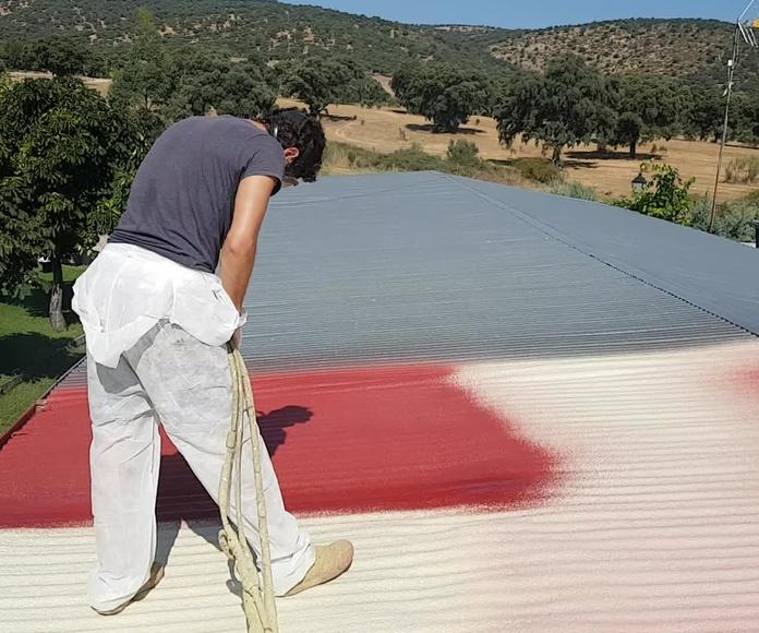 cubierta de chapa aislada con proyección de poliuretano+revestimiento en rojo.