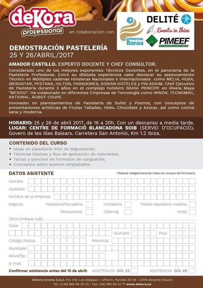 Demostración Pastelería 25 y 26 de abril 2017